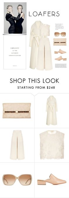 """""""Carry On"""" by iriadna ❤ liked on Polyvore featuring Diane Von Furstenberg, Delpozo, Temperley London, Costarellos, Chloé, Rachel Comey, white, loafers, coats and woolcoat"""