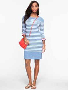 Talbots - Slub-Knit Striped Tee Cotton Dress | New Arrivals | Misses Discover your new look at Talbots. Shop our Slub-Knit Striped Tee Cotton Dress for stylish clothing and accessories with a modern twist at Talbots