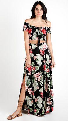 Floral Drawstring Crop Top and Maxi Skirt Set