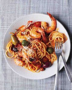 """See the """"Shrimp + Spaghetti """" in our Fall Pasta Recipes gallery Seafood Dishes, Pasta Dishes, Seafood Recipes, Cooking Recipes, Healthy Recipes, Seafood Pasta, Olive Recipes, Italian Recipes, Sauce Gnocchi"""