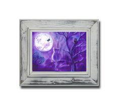 Purple Wall Decor Cat Full Moon Original Painting  by DHANAart