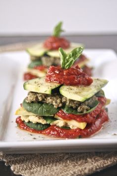 "RAW: VEGAN LASAGNA STACK (Using pine nuts in lieu of cashews for ""cheese"" brilliant!!!)"