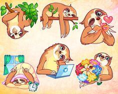Sale Sloth in love clipart files kids sticker sloth sticker