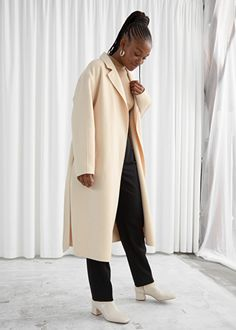 Belted Wool Blend Coat - Beige - Jackets & Coats - & Other Stories