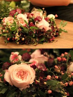 (Catherine Muller) A romantic design with beautiful textures of garden roses,  berries & astrantia.