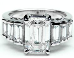 Engagement Ring - Emerald Cut Diamond Engagement Ring Step Up Baguettes - ES998ECWG