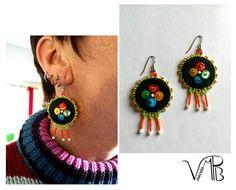 Boucles brodées perles coquillage multicolores *BOB1006 : Boucles d'oreille par verocrea