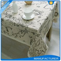 Multi-functional Custom Print Fabric Tablecloths Table Covers with Fringes