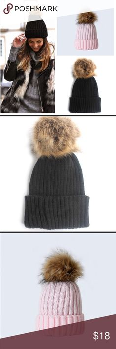 🆕Pom Pom Hat Look gorgeous even though its cold wearing this pom pom beanie in black or pink! This beanie is super soft and comfortable. Features a pom pom adorning the top made of soft faux fur. Accessories Hats
