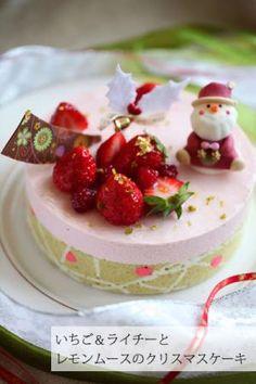 いちご&ライチーとレモンムースのクリスマスケーキ