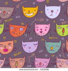 stock-vector-funny-cartoon-cats-colorful-seamless-pattern-in-vector-31619596.jpg (450×470)