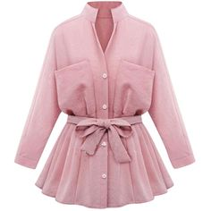 Womens Stand Collar Long Sleeve Pockets Plain Trench Coat Pink (100 SAR) ❤ liked on Polyvore featuring outerwear, coats, pink, pink trenchcoat, pocket coat, stand collar coat, trench coat and pink trench coat