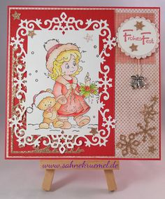 """Christmas Greeting card, using """"Winter Wonder"""" from Whimsy Stamps; """"Snow Frame"""" from Wild Rose Studio; Rectangles """"XXL Nest-lies Rectangles Double Stitch"""" Crealies; Designerpaper Paperpad 6x6 """"I Wish"""" Maja Design; """"Snow Flurry"""" and """"Snow Corner"""" Wild Rose Studio; Sentiment Rayher; Charm Nellie Snellen; Glitter Cardstock Rayher; colored with TwinklingsH2O"""