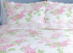 New for Spring Pretty Delphinium Floral Cotton Double Quilt RRP £105 | Coast & Country Interiors