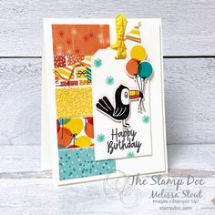 Party Animals: Check out the Birthday Bonanza Suite Animal Party, Party Animals, Birthday Cards, Happy Birthday, Treat Holder, Paper Cards, Fun Cards, Bird Cards, Stamping Up Cards