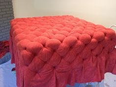 It all started with a picture... I saw an ottoman that I liked online...but there was no way to get it. It wasn't sold in stores. So,... Diy Ottoman, Upholstered Ottoman, Sofas, Diy Home Decor, Frosting, Diy Projects, Chair, Furniture, Life