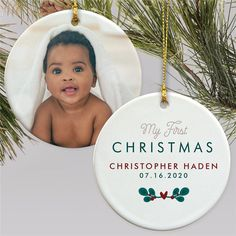Celebrate their first Christmas with an adorable photo ornament of your favorite photo of your baby that you can cherish for many years to come #babysfirstchristmasornaments #photoornaments #personalizedornaments #personalizedChristmasornamentsbaby Baby's First Christmas Gifts, First Christmas Photos, Baby First Christmas Ornament, Babies First Christmas, Christmas Ideas, Personalized Christmas Ornaments, Christmas Tree Ornaments, Photo Ornaments, Special Occasion
