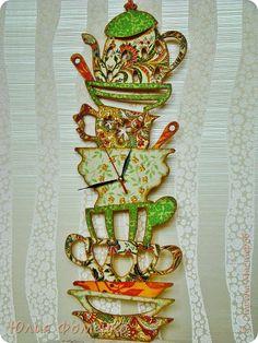 Декор предметов Декупаж Часы Гора посуды -2 Бусины Клей Краска Салфетки Фанера фото 7