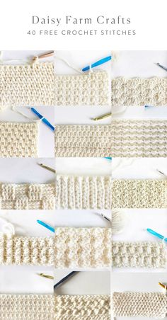 40 free crochet stitches from daisy farm crafts crafts crochet daisy farm free stitches Learn how to crochet the knit stitch successfully in this step-by-step video tutorial. The knit stitch (AKA the waistcoat or center single crochet stitch) can be Crochet Stitches Patterns, Knitting Stitches, Stitch Patterns, Knitting Patterns, Crochet Stitches For Blankets, Different Crochet Stitches, Crochet Gratis, Free Crochet, Knit Crochet