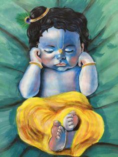 Krishna Art, Krishna Drawing, Krishna Painting, Baby Krishna, Lord Krishna, Shiva, Lord Ganesha Paintings, Mandala Art Lesson, Indian Folk Art