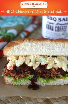 A zesty BBQ punch and roasted coffee richness all in one sub sandwich. Your taste buds will go wild with  KING'S HAWAIIAN Kona Coffee BBQ Sauce.