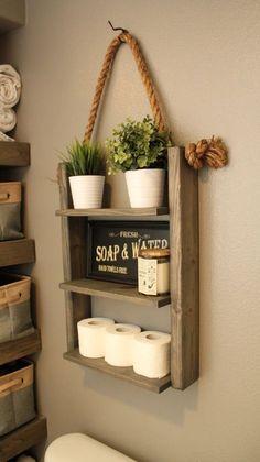 Bathoom Storage Shelf Ladder Shelf Wood by KnottyByNatureDecor