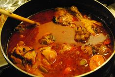 "Haitian Chicken In Sauce Recipe - Food.com ----- I think this is very similar to the ""goat sauce"" I had in Haiti.  Gonna have to try this with beans & rice and fried plaintains!!!"