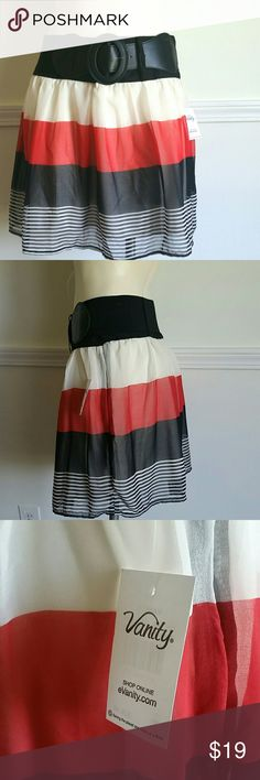 Striped Skirt Beautiful!! Striped skirt with belt from Vanity.  Never used. Lined.  100% Polyester Vanity Skirts Mini