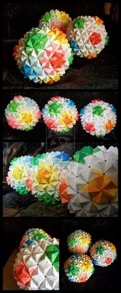 3 Sonobe Origami Balls by ~lonely--soldier on deviantART