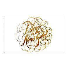 Kess InHouse Roberlan 'Black is the New ' Metallic Typography Artistic Magnet