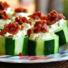 Stuffed Cucumber cups by WillCookForSmiles. Super easy and delicious. Great for party trays and appetizers.