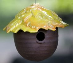 Encourage nesting in your yard with our Ceramic Gourd Birdhouses! Handcrafted of weather-proof stoneware, they're original art thrown on a potters wheel. Unique bird home features unusually vibrant gl
