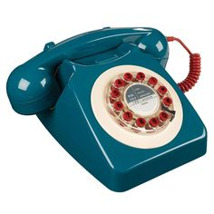 Retro Fashion Retro 746 Series Rotary Corded Landline Phone, Blue - The 746 Telephone is a classic British retro telephone and style icon with a rotary inspired design.