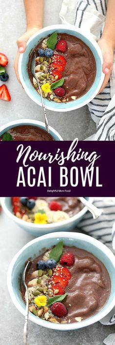 Acai Bowl Supercharge mornings healthy and energized with this acai bowl recipe! Acai bowls are a superfood packed with antioxidants and omega vitamins thattastes like dessert! Source by gfveganmeals Healthy Breakfast Choices, Gluten Free Recipes For Breakfast, Healthy Gluten Free Recipes, Healthy Food List, Vegan Breakfast, Healthy Breakfasts, Free Breakfast, Breakfast Ideas, Vegan Recipes
