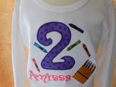 Applique and monogram crayon t-shirt from Sew Jewell on etsy