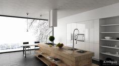 Wood block kitchen island