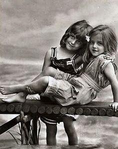 Best Friends sisters vintage bloomers swimming dock photo