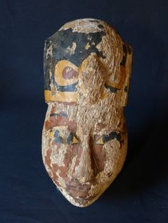 Antique for sale Egyptian mask with wig and Uraeus Late Period Mask Head Sculpture Fine arts architecture