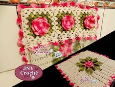 Capa De Fogão de crochê com flores                                                                                                                                                      Mais