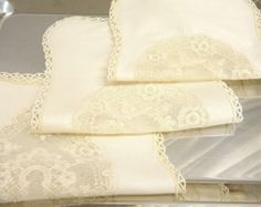 Items similar to discount for a set of 3 pieces Cute lace wedding handkerchiefs Tray cloth doily Tea towel centerpiece table overlay decoration on Etsy Silk Handkerchief, Wedding Handkerchief, Romantic Notes, Table Overlays, Lace Silk, Doilies, Tea Towels, Fun Crafts, 3 Piece