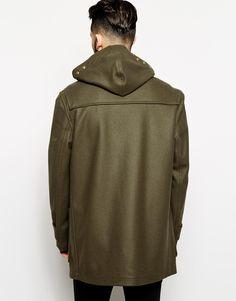 :Back olive green duffle coat