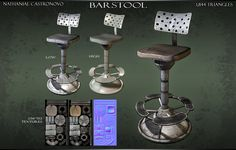Unearthly Barstool by natetheartist on deviantART Game Props, Low Poly Models, Game Assets, 3d Modeling, Game Art, Bar Stools, Digital Art, Environment, Objects