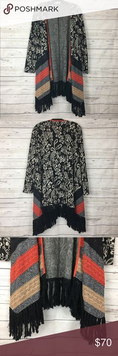 """Ryu lace paisley open cardigan duster fringe boho Great condition. 21"""" armpit to armpit and 38""""  long Anthropologie Sweaters"""