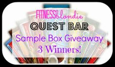 Quest Nutrition and I have teamed up to giveaway my friends and readers sample boxes of their famous protein bars! Every flavor they offer are included in the boxes. There are multiple ways to get entries; so click the blog post and get them in!  Liz @ Fitness Blondie http://fitnessblondie.blogspot.com