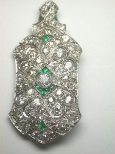 Antique European Diamond Pin Pendant Platinum Vintage Art Nouveau Rare Art Deco