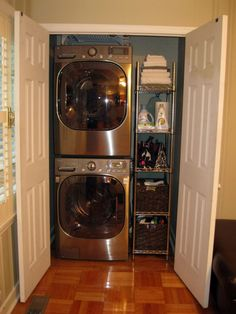 Perfect laundry for a small space. our laundry closet is slightly bigger, enough room for an upper cabinet, hang rod, lower cabinet w/ countertop to hold 3 large laundry baskets.