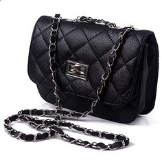 HDE Mini Faux Leather Quilted Shoulder Bag Clutch with Lace Threaded Metal Chain Strap (Black). Visit website to read more description.
