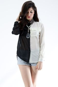 TOPS :: Shirts & Blouses :: Black half white contrast collar shirt - Online Shopping Store with Designer Fashion, e-shop with Clothing and Accessories in Athens
