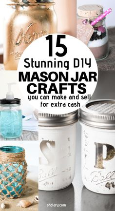 15 Mason Jar Crafts To Make And Sell For Extra Money. I love making extra cash from home by using mason jars and cheap dollar store items to create awesome and easy DIY mason jar home decor, Christmas decorations and gifts. These are perfect to be sold at Diy Gifts To Sell, Diy Projects To Sell, Crafts To Sell, Selling Crafts, Crafts To Make And Sell Unique, Sell Diy, Sewing Projects, Pot Mason Diy, Mason Jar Gifts
