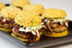 Bacon-Cheddar BBQ Pork Sliders / @DJ Foodie / DJFoodie.com